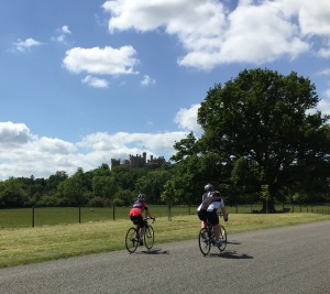 Part of our group riding past Belvoir Castle.