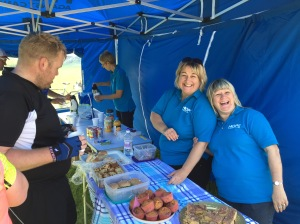 The busy bees - Vicky, Louise and Sally looking after some very famished cyclists. Steve, Will and Ian also great helpers but not in the picture.