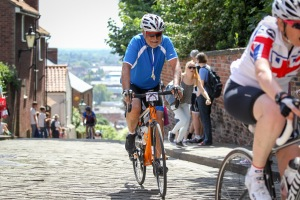 Me - half way up the gruelling climb on cobbles at Michaelgate averaging 17% incline.