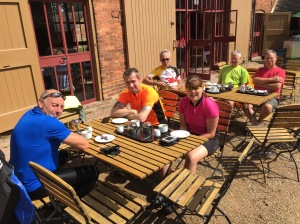 Some members of the newly formed Shepshed Cycling Club stopping for Tea at Calke Abbey during last Sunday's ride.
