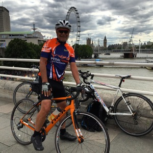 On Waterloo Bridge with the London Eye and Westminster in the background