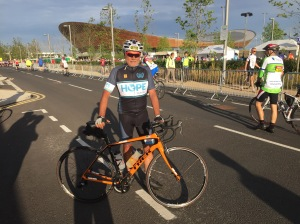 At the start outside Lee Valley Velodrome in Queen Elizabeth Olympic Park