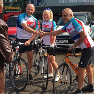 Fellow riders Derek Jelley (former Leicester Tigers rugby star) and Angela Stewart my number one fan!